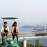 Головокружительный аттракцион «Небесный велосипед» (SkyCycle), Курасики, Япония