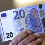 В Европе вышла в обращение новая двадцатиевровая банкнота